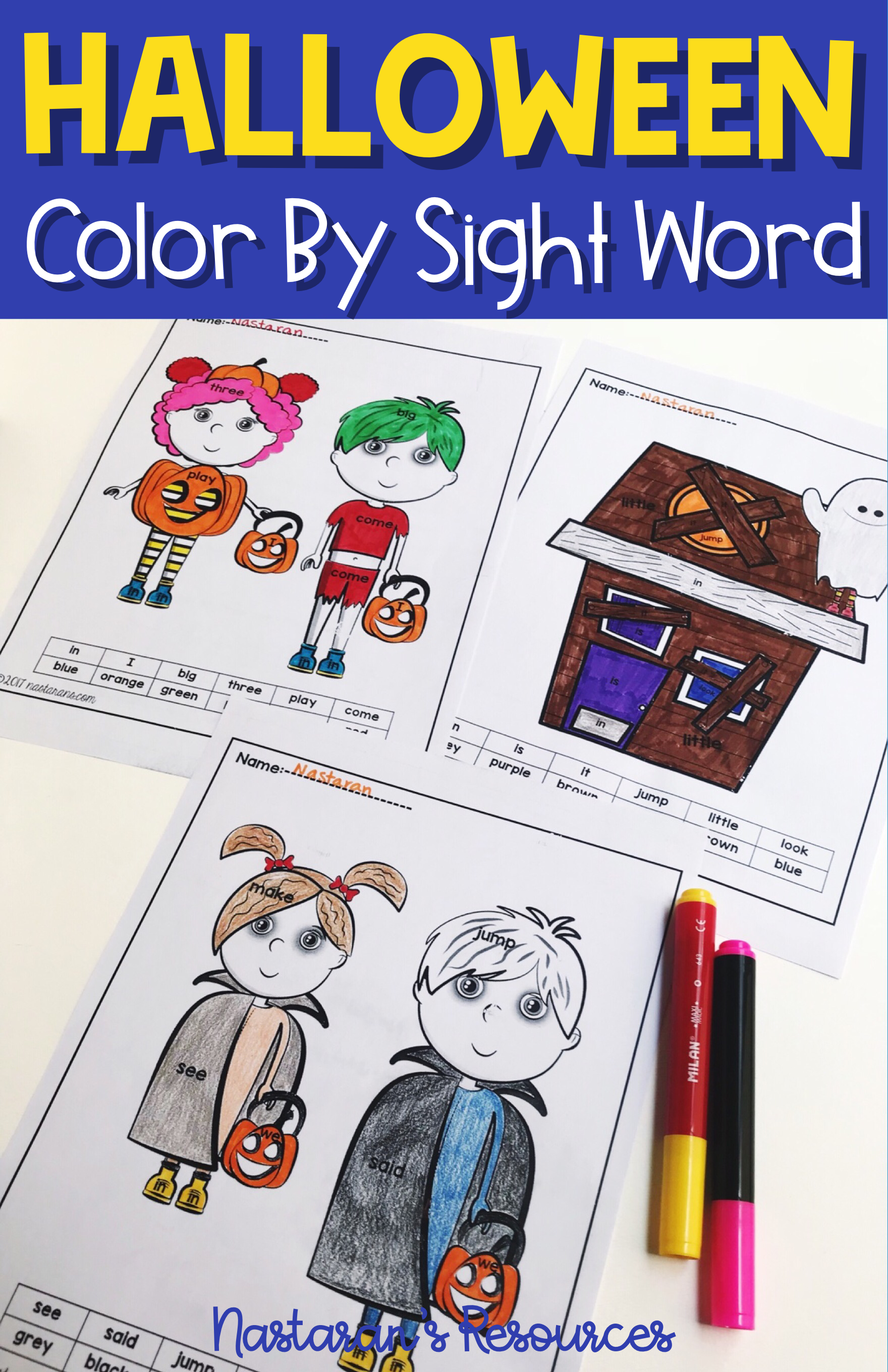 Halloween Sight Word Coloring Sheets