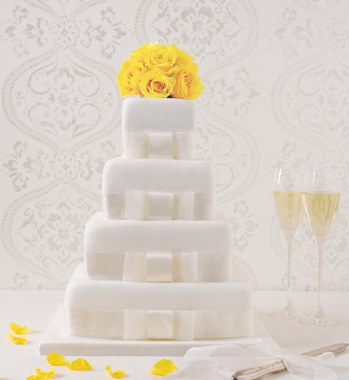 4 Tier Elegant Assorted Wedding Cake £219, M&S-this is what we want but with coral ribbons around each layer
