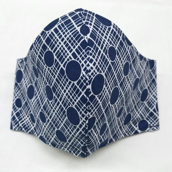 Cotton Face Conceal, 4 layers with Filter Incorporated, with Pocket, Lined, Navy Crosshatch Dot Print, Elas thumbnail