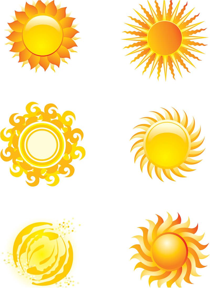 sun art | Set of 6 vector stylized sun illustrations or ...