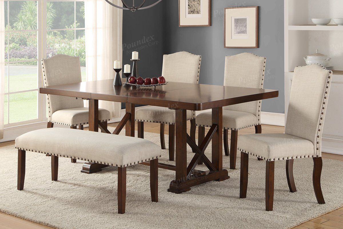 Poundex Cherry Wood 7 Pieces Leaf Dining Table Set Bench Traditional Dining Rooms Dining Room Sets Dining Chairs