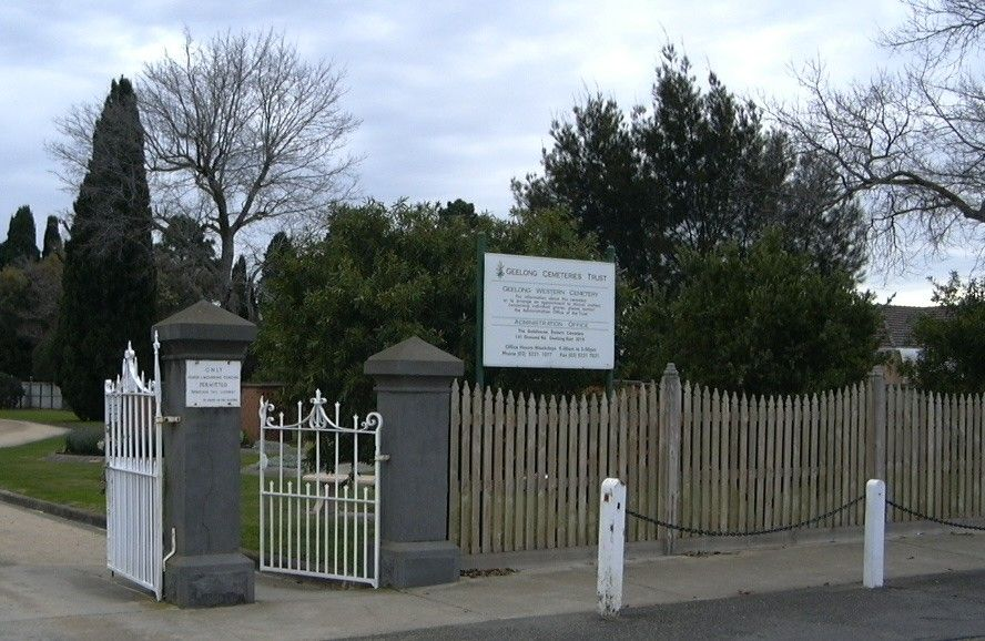 Geelong Western cemetery - entrance: online at Geelong Cemeteries Trust http://www.gct.net.au/