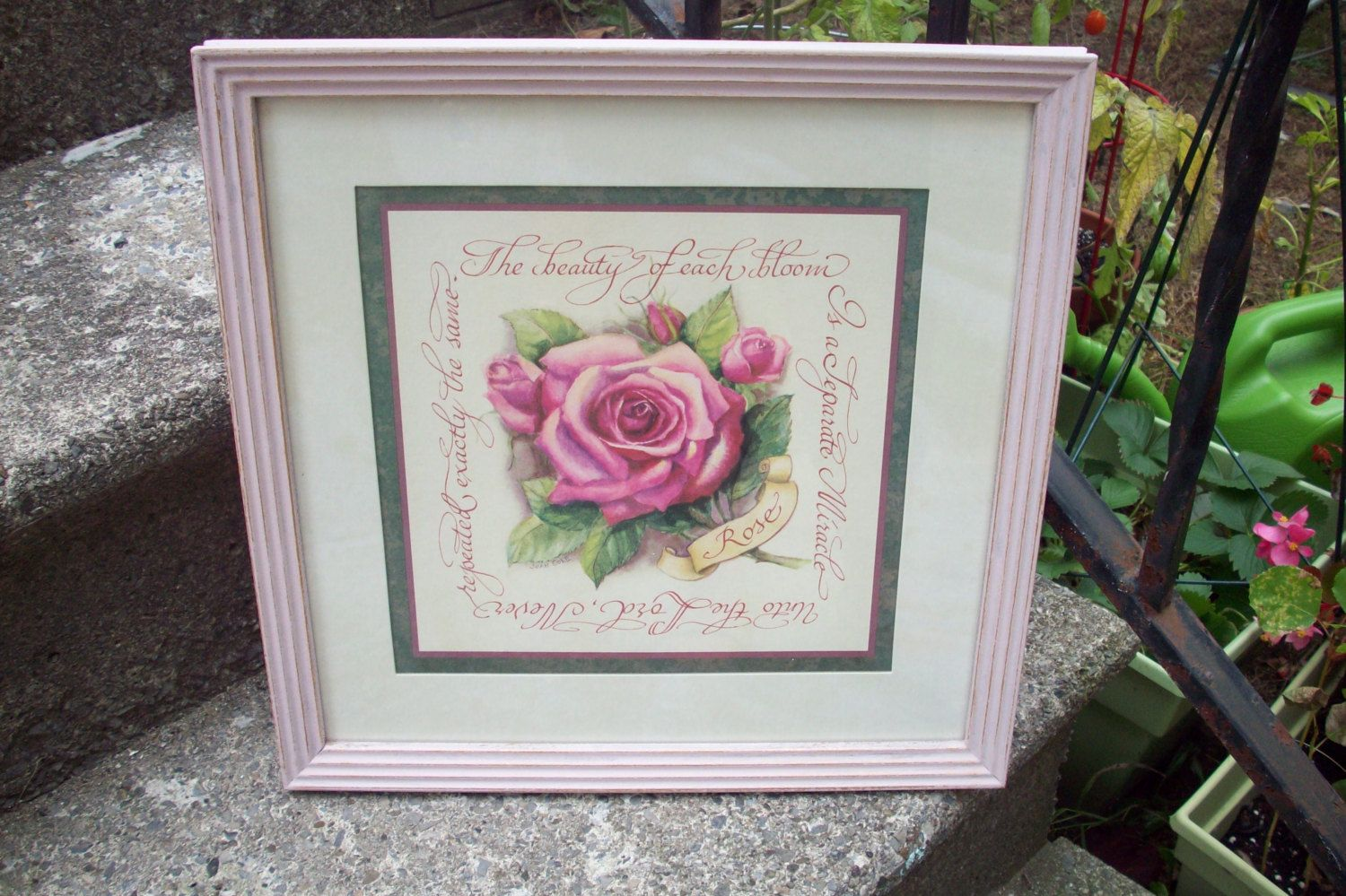 Home interiors and gifts framed art - Home Interiors And Gifts Framed Floral Wall Plaque Hand Painted Wood Frame Annie Sloan Antoinette