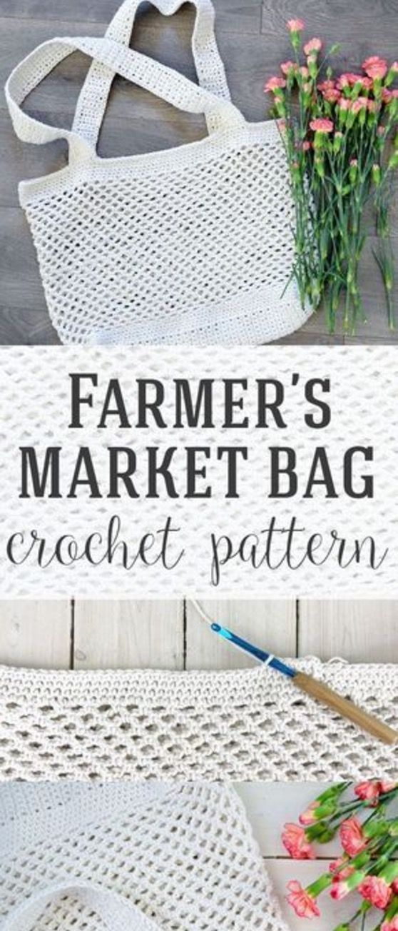 Crochet Market Tote Bag Free Pattern Ideas | Patrones