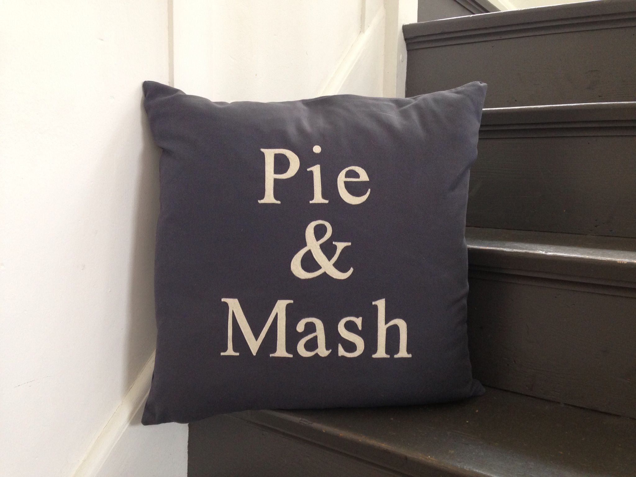 Pie u mash cushion in grey cotton drill of little consequence