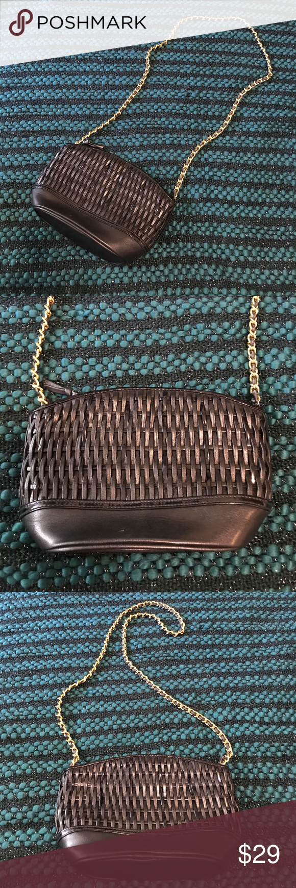 Vintage Feeling Small Shoulder Bag Black and Gold Black woven shoulder bag! So cute! It has a vintage feel but doesn't have Tags so I am not sure if t is actually vintage. It's in really good condition! I love the gold chain wrapped with leather! Reasonable offers accepted! Bundle for a private discount! Unbranded Bags Shoulder Bags