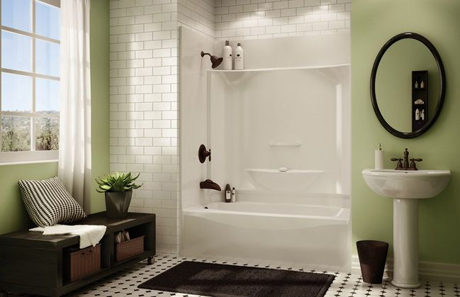 Fiberglass tub/shower unit with tile surround. If you can\'t get rid ...