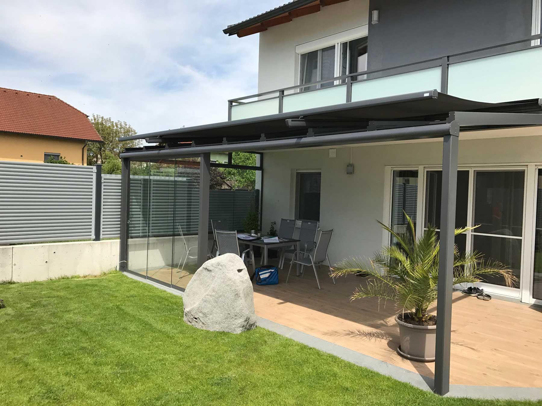 Terrassenüberdachung Windschutz Schiebeverglasung inkl