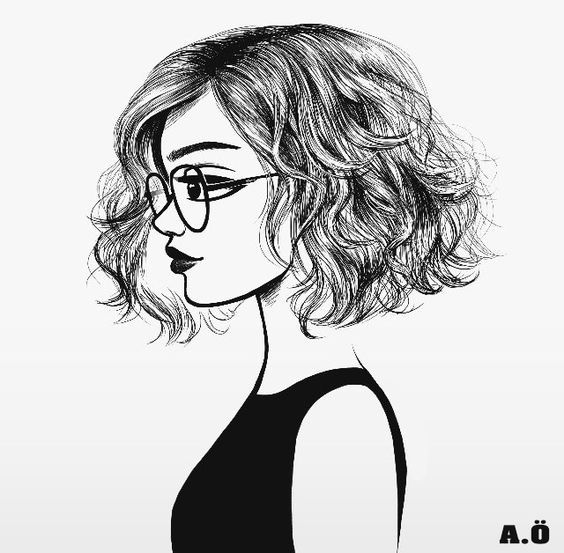 Girl With A Wavy Bob And Glasses Cool Drawings Sketches Drawings