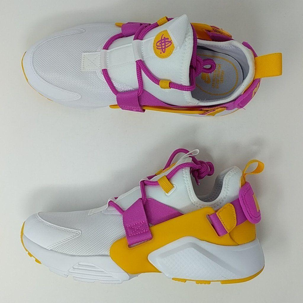 7a97f9dc99ce Nike Air Huarache City Low Womens AH6804-102 White Fuchsia Gold Shoes –  LoneSole