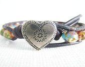 Beaded Leather Bracelet -   Light green and gold czech glass beads silver heart button boho bohemian shabby chic