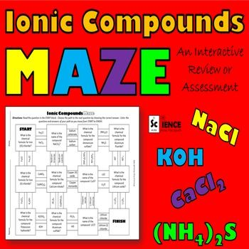 ionic compounds maze for review or assessment of nomenclature science from the south ionic. Black Bedroom Furniture Sets. Home Design Ideas
