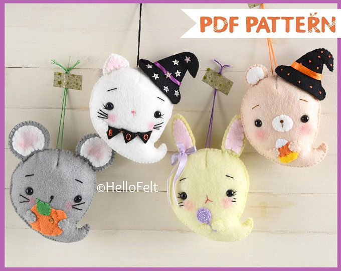 PDF PATTERN Ghostly and Cute, Kitty, bear, bunny and mouse - hello kitty halloween decorations