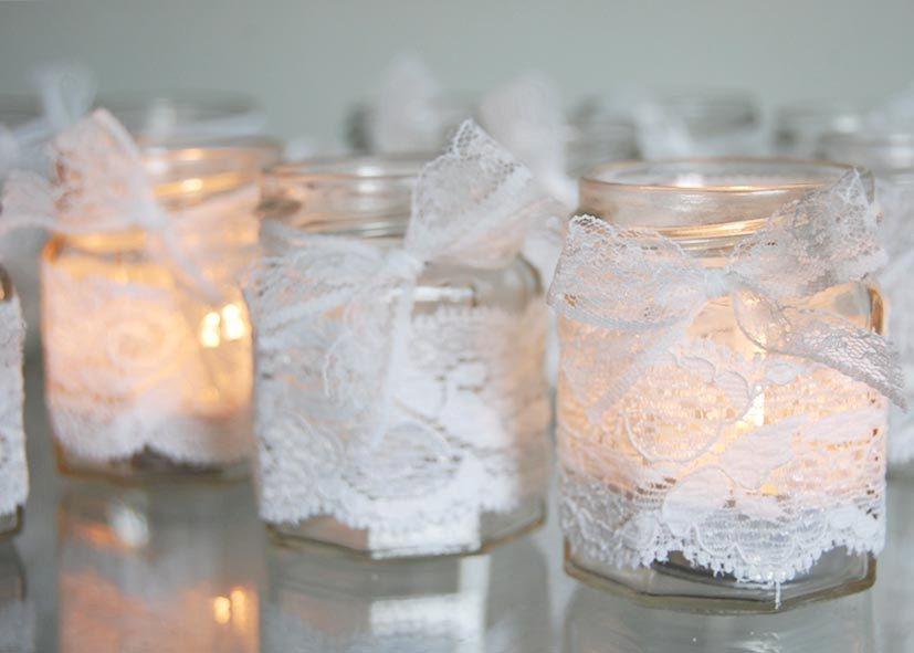 Lace covered tealight holder set via Etsy