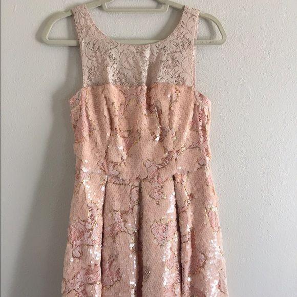 Pink Sequins Dress Anthropologie