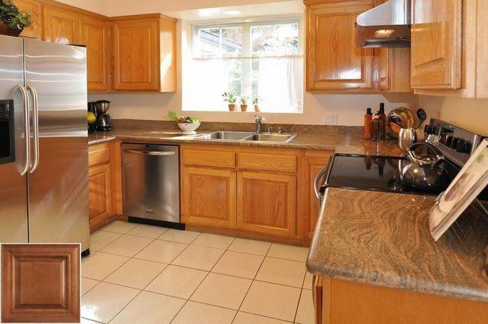 Cool - pictures of honey oak kitchen cabinets. #honeyoakcabinets