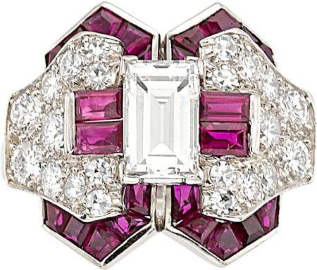 Estate Jewelry:Rings, Art Deco Diamond, Ruby, Platinum Ring, Oscar Heyman Bros. . ... Image #1