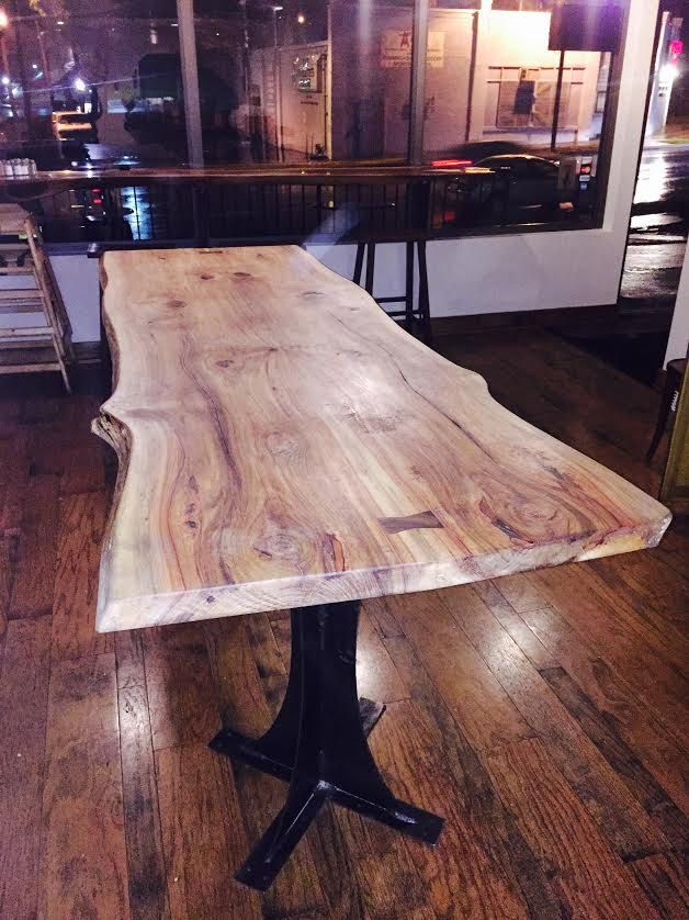 Finished Hickory Live Edge Book Matched Table Dining Table Live