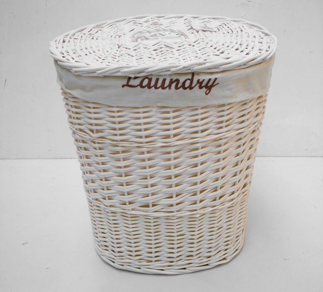 White wicker baskets with handle - Wicker