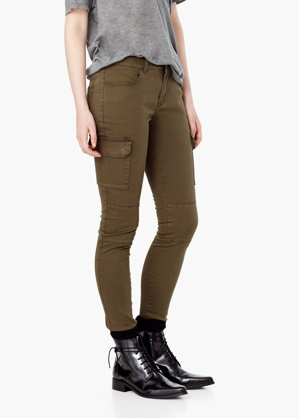 Pantalón cargo algodón - Pantalones de Mujer  4114578d0afd