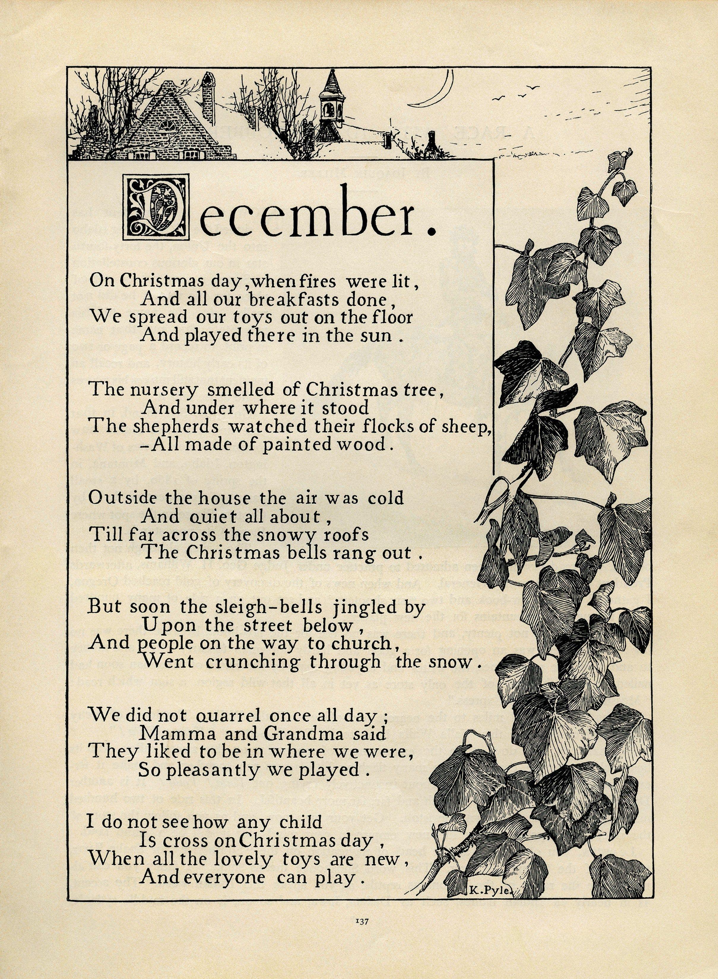 December poem, Katherine Pyle poetry, vintage christmas poem, black ...