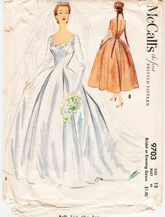 Original Rare Vintage Sewing Pattern 1950 S Ladies Wedding Gown Mccall S 9703 Size 30 Bust Free Pattern Grading E Book Included Vintage Wedding Dress Pattern Vintage Dress Patterns Wedding Gowns Vintage
