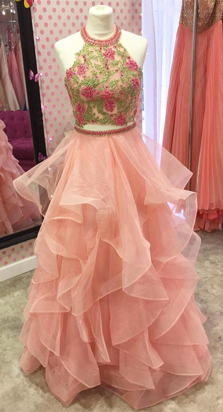 Two piece prom dresses long prom dresses prom dresses floral