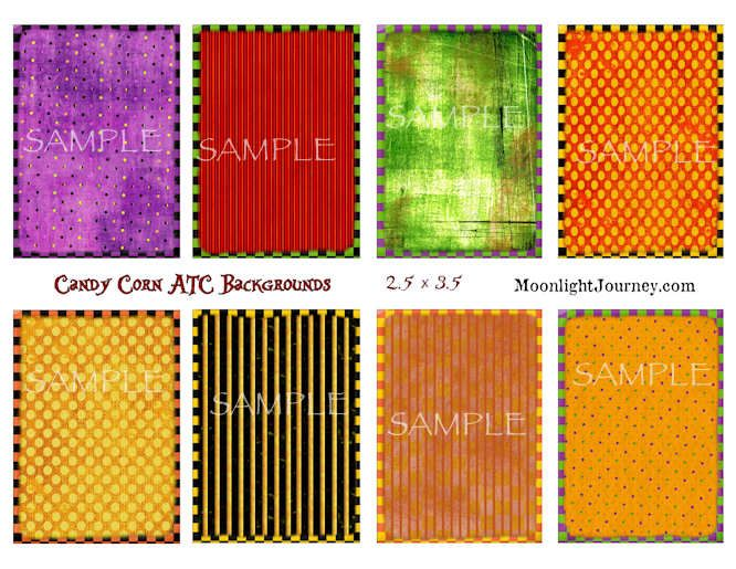 Candy Corn ATC Backgrounds Collage Sheet $3