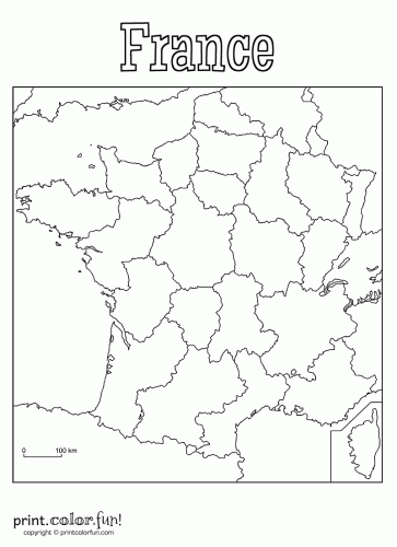 country map of france colouring pages