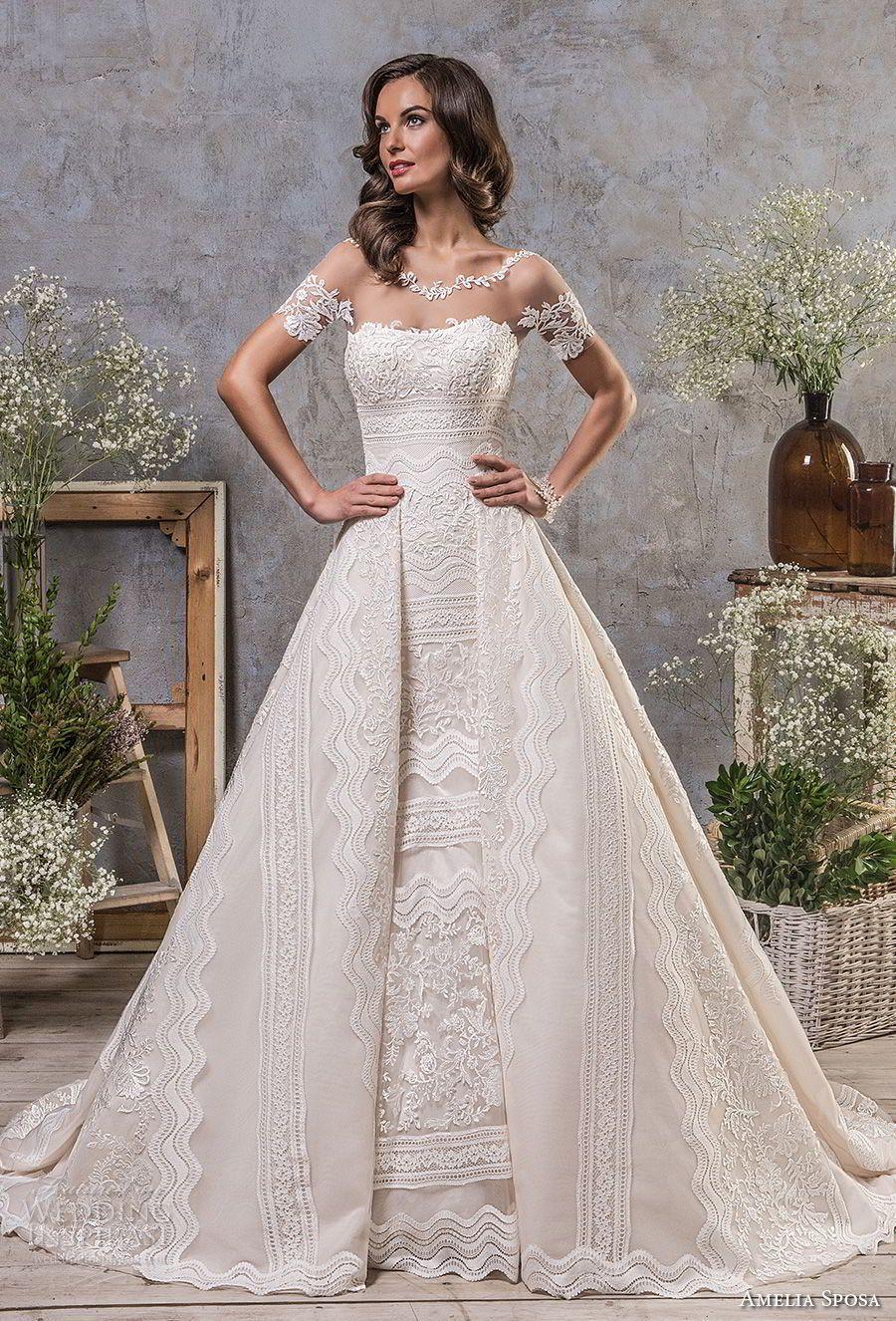 Amelia sposa fall bridal short sleeves illusion boat neck semi