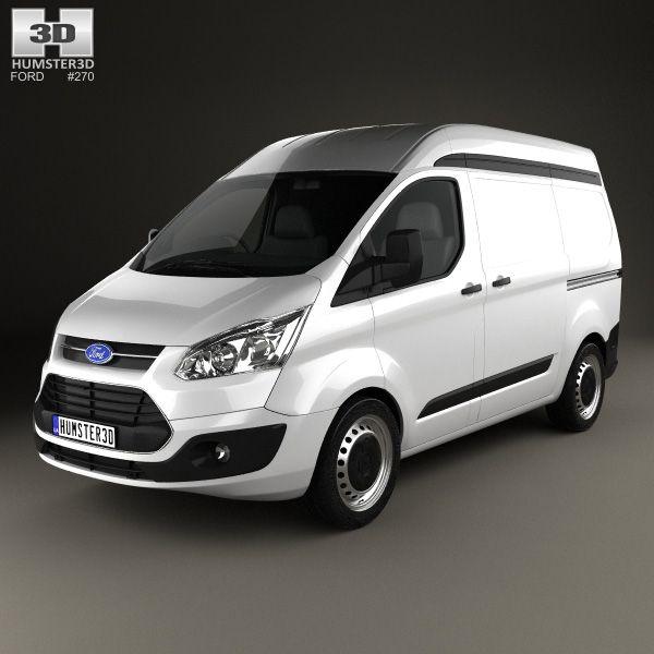 3d Model Of Ford Transit Custom Panel Van L1h2 2012 Cars Camion