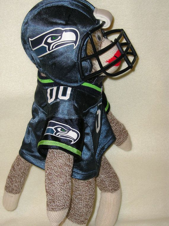 c3592a0c134 Seattle SEAHAWKS Football Sock Monkey Doll with Jersey, Helmet, and ...