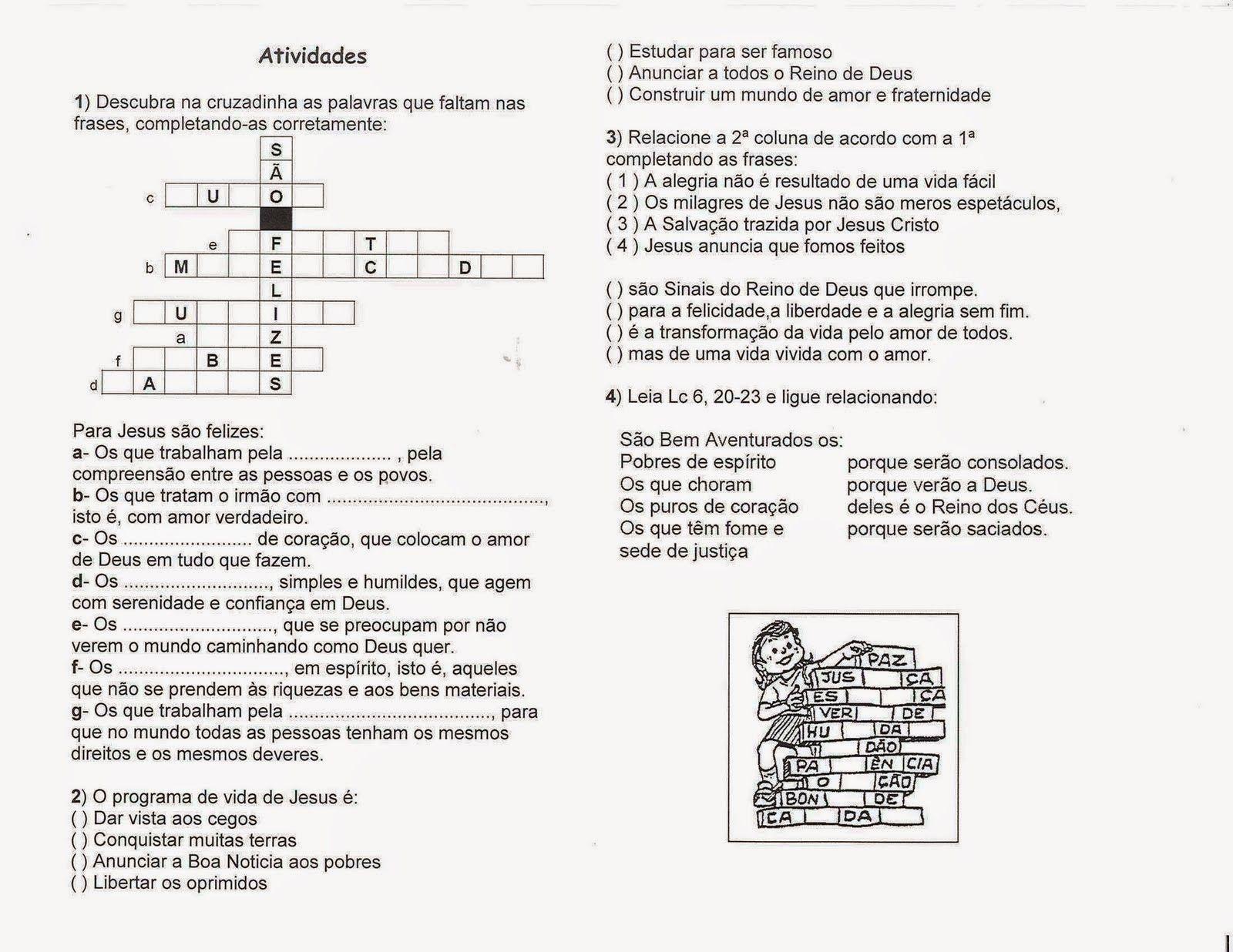 Atividade3 Atividades De Catequeze Bem Aventurancas