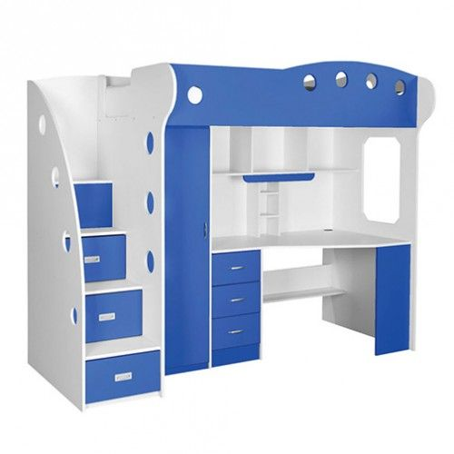 Nika Loft Bed Creme Blue In 2020 Loft Furniture Blue