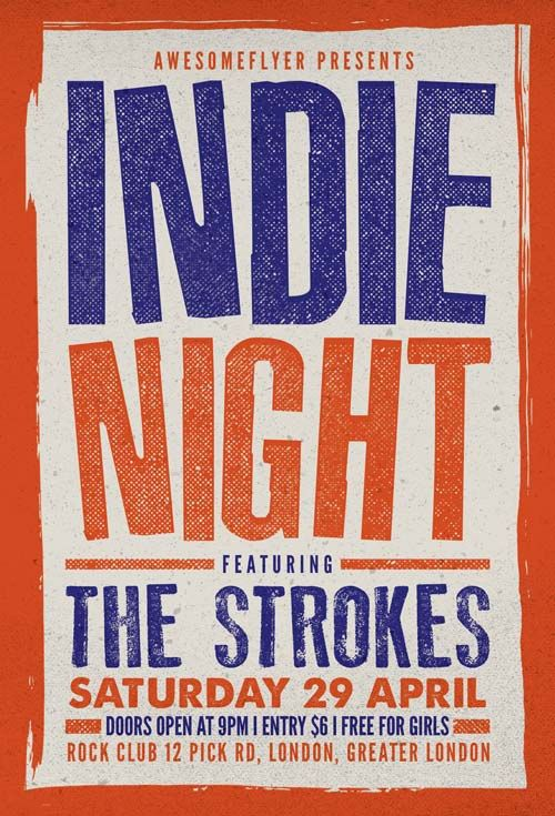 Indie Rock Concert Free Flyer Template Freebies Printables