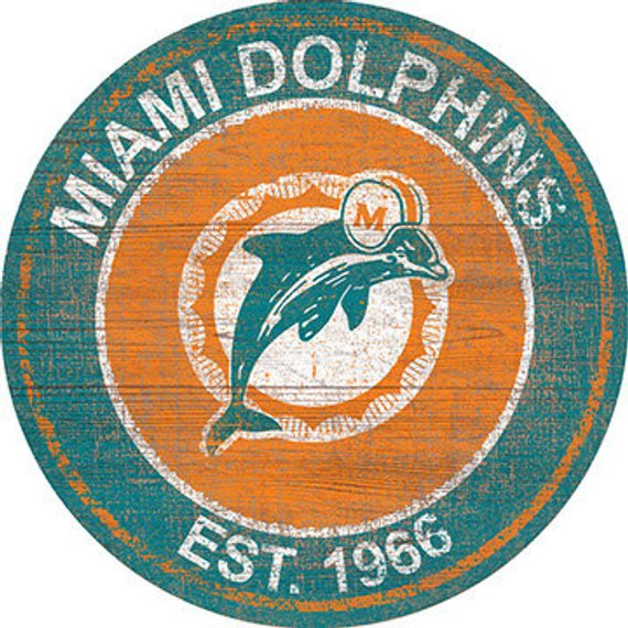 NFL Miami Dolphins Round Distressed THROWBACK Established Wood Sign 24