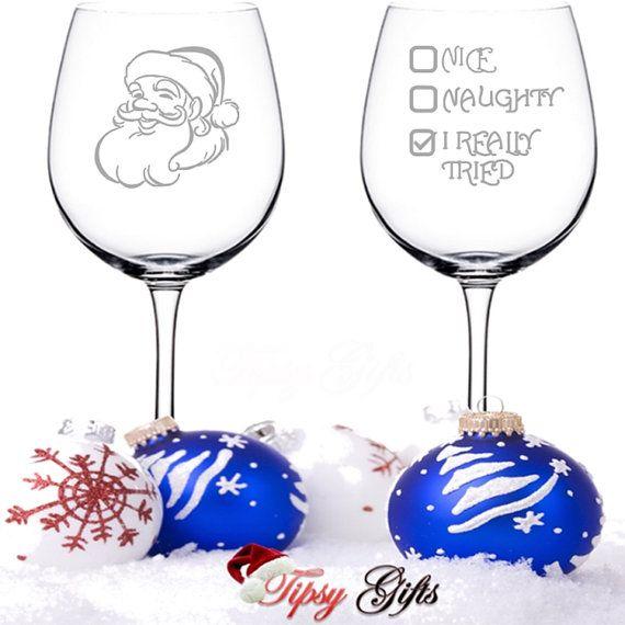 Santa I Really Tried Christmas Wine Glasses Nice by TipsyGifts