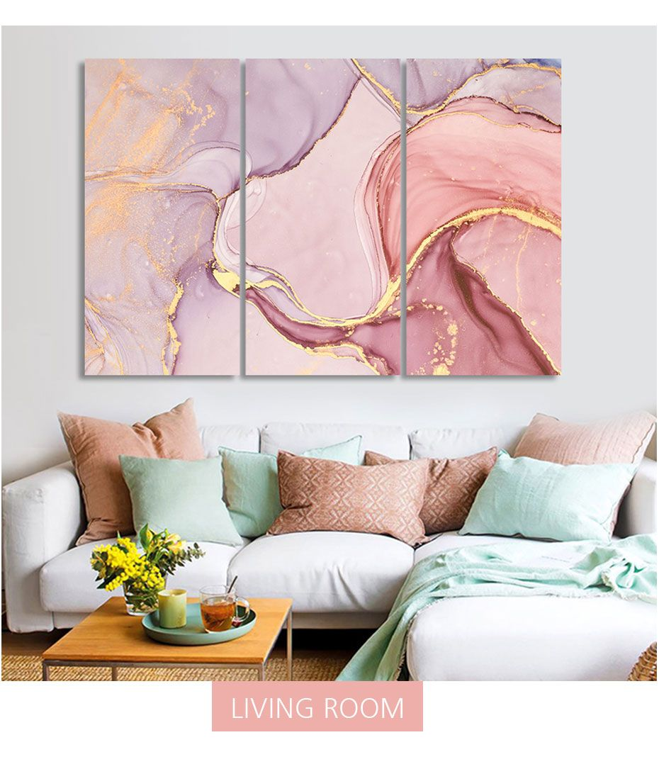 Modern Abstract Pink Marble Artwork 3 Canvas Paintings Diy Stretched Posters Prints Artwork For Living Room Abstract Wall Art Living Room Wall Canvas Painting