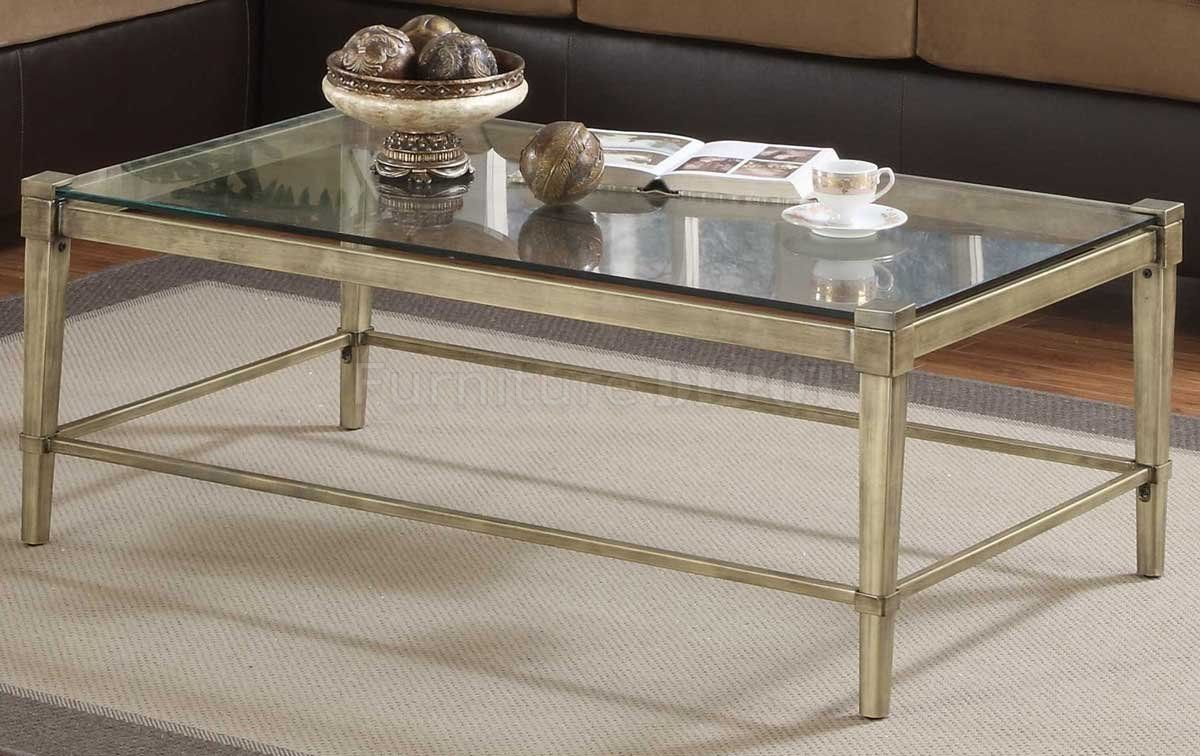 Modern coffee table with brass legs clear glass top for Contemporary glass top coffee table