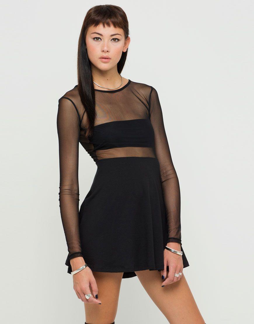 Buy Motel Valeria Mesh Top Skater Dress in Black at Motel Rocks ... 3b5205df1161
