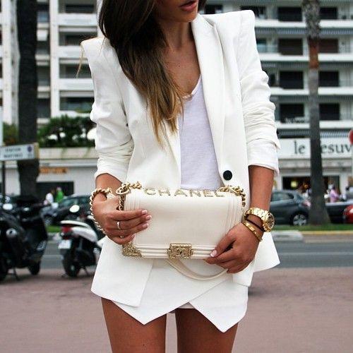 all white: envelope skirt, blazer, tank & chanel bag