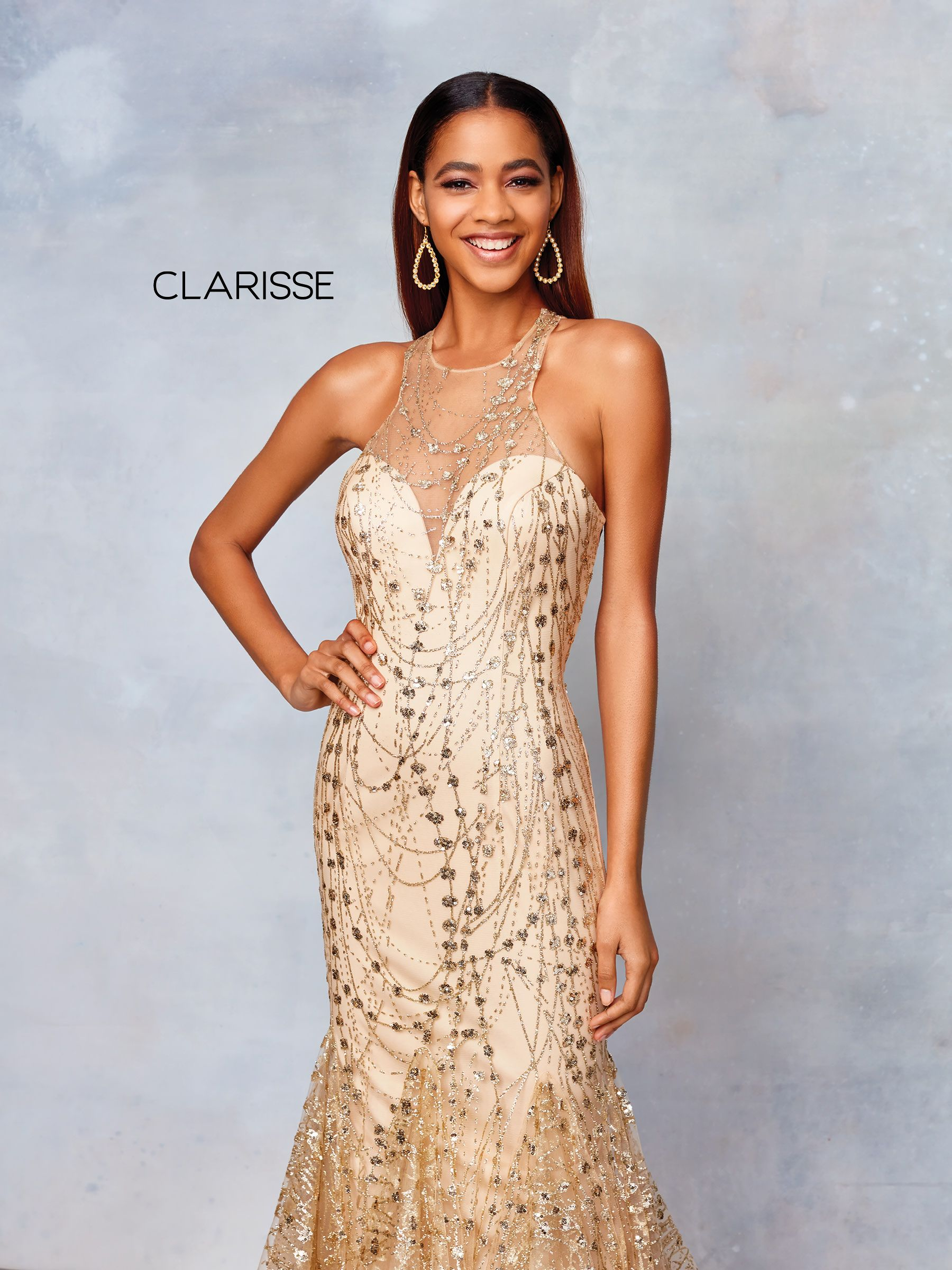 3862 Gold Glitter Tulle Fit To Flare Prom Dress With A High
