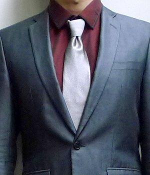 Gray Suit Burgundy Shirt Silver Tie Rory Wardrobe