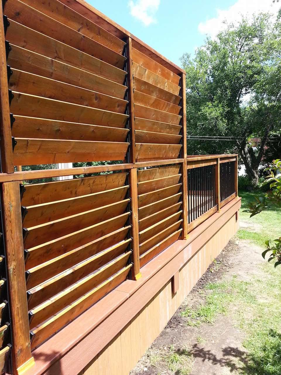 Louvered Deck Railings Privacy Screen Outdoor Backyard Privacy