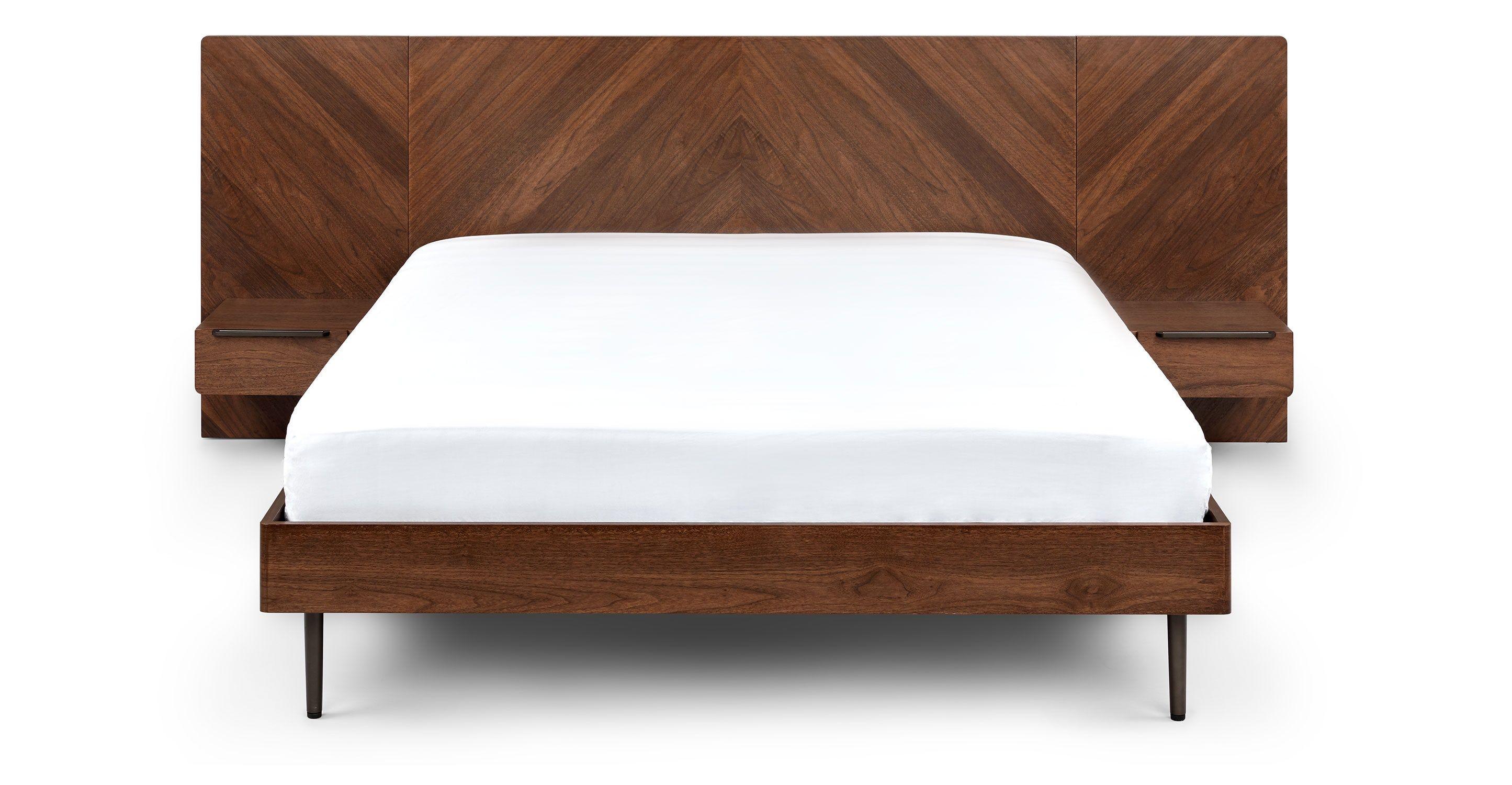 Nera Walnut Queen Bed In 2020 Modern King Bed Frame Mid Century