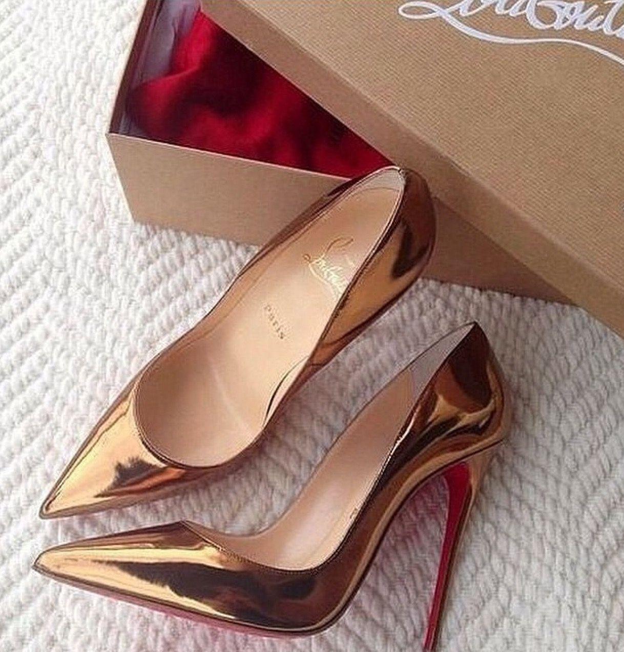 Gold red bottom stilettos! Follow