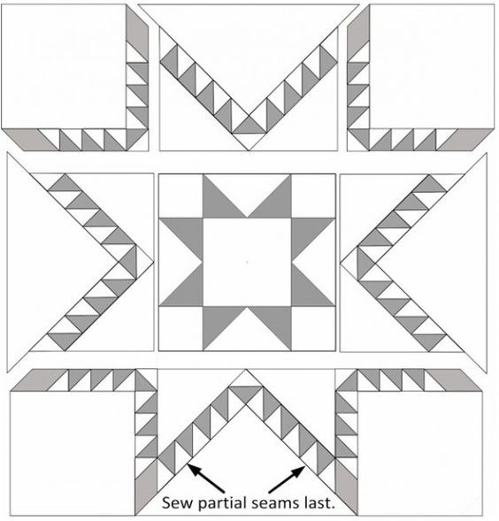 Aurora Feathered Star Quilt Block Tutorial Barn Quilts