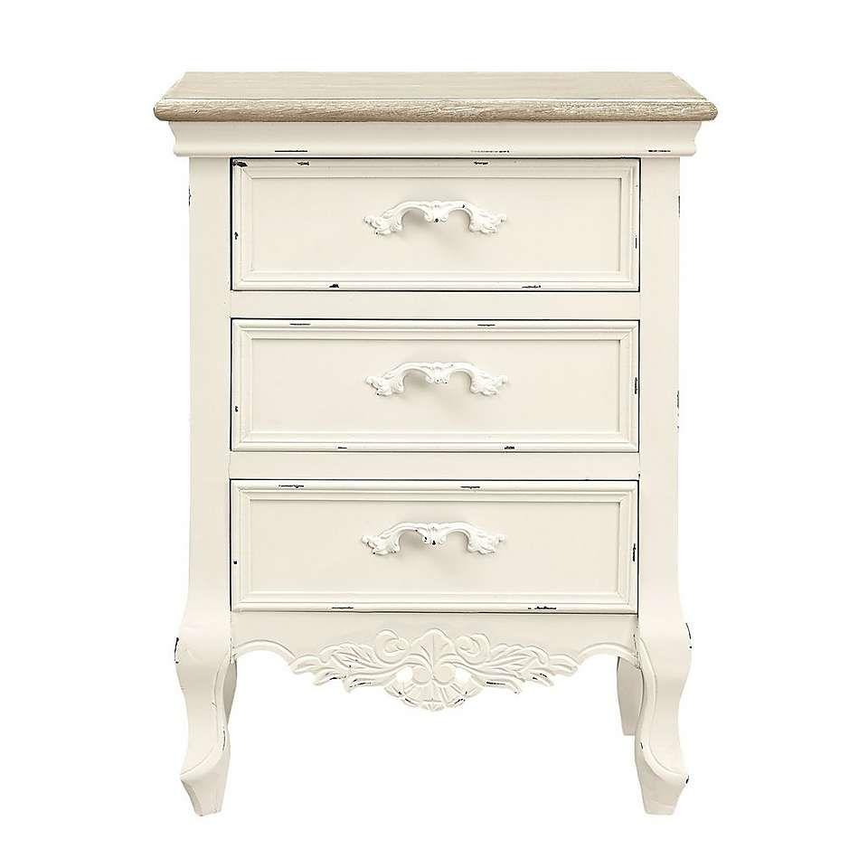 camille ivory three drawer bedside table dunelm. Black Bedroom Furniture Sets. Home Design Ideas