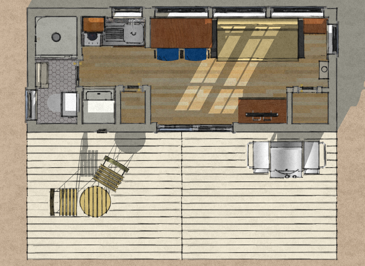 Wonderful Cargo Container Plans | Floor Plan For An 8u0027 X 20u0027, 160 Square Foot Shipping  Container Home .
