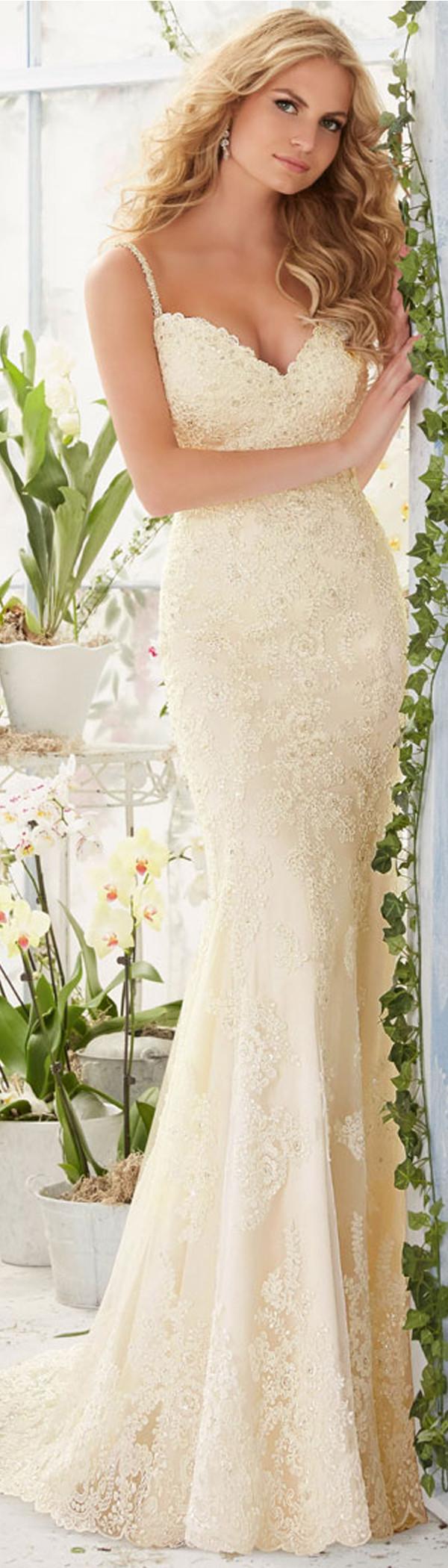 Beaded spaghetti strap wedding dresses  Elegant Tulle Spaghetti Straps Neckline Sheath Wedding Dresses with